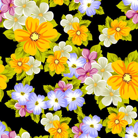 Elegant seamless pattern of flowers on a black background. For the design of cards, invitations, greeting cards, fabrics, banners. For birthday, wedding, party, Valentines day, holiday. Vector illustration. Ilustrace