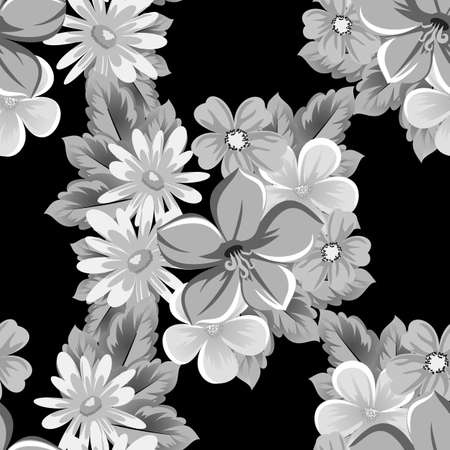 abstract seamless pattern of flowers on black background. for card designs, greeting cards, birthday invitations, Valentines day, party, holiday. Vector illustration. Ilustrace