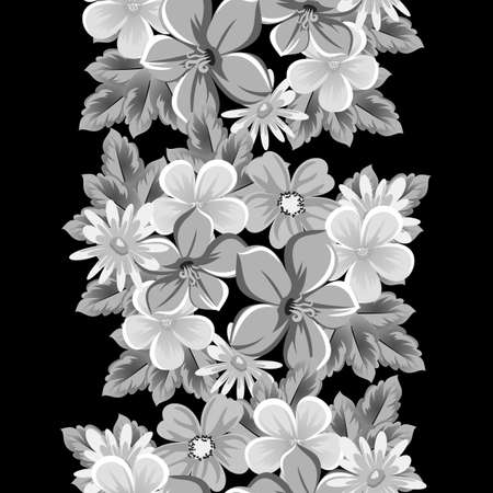 abstract seamless pattern of flowers on black background. for card designs, greeting cards, birthday invitations, and more. Illustration
