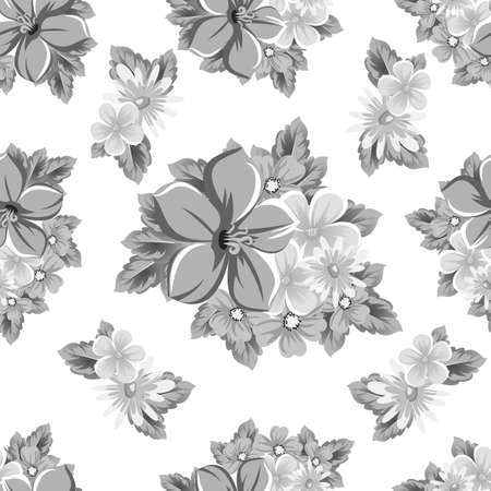 abstract monochrome seamless pattern of flowers. for card designs, greeting cards, birthday invitations, Valentines day, party, holiday. Vector illustration. Ilustrace