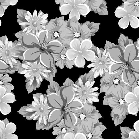 Abstract seamless pattern of flowers on black background