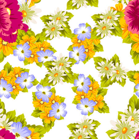 Abstract seamless pattern of flowers for card designs, greeting cards, birthday invitations, Valentines day, party, holiday vector illustration.
