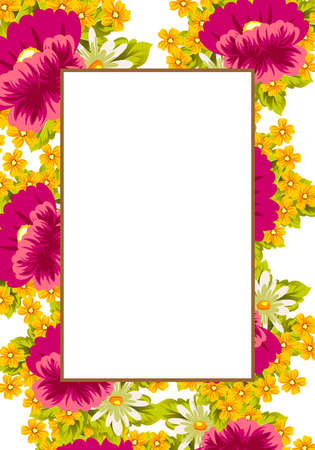 Frame of flowers for card designs, greeting cards, birthday invitations, Valentines day, party, holiday vector illustration.