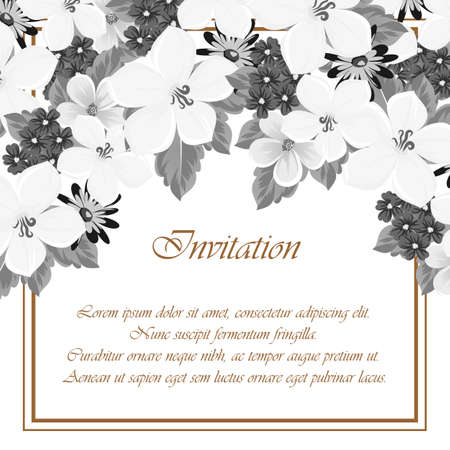 Frame of flowers. for card designs, greeting cards, birthday invitations, Valentines day, party, holiday vector illustration.