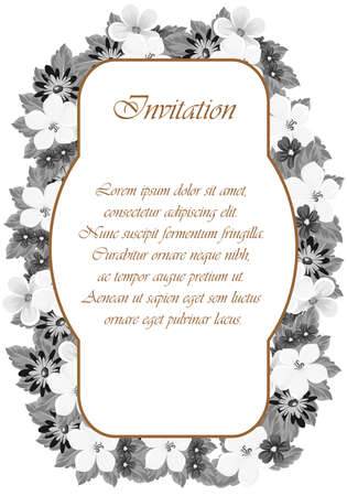 Invitation card design with monochrome floral frame Ilustrace