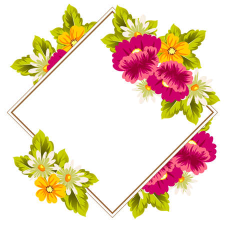 Frame of flowers. for card designs, greeting cards, birthday invitations, Valentines day, party, holiday. Vector illustration Stock Illustratie