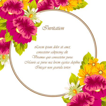 Frame of flowers. for card designs, greeting cards, birthday invitations, Valentines day, party, holiday. Vector illustration Ilustrace