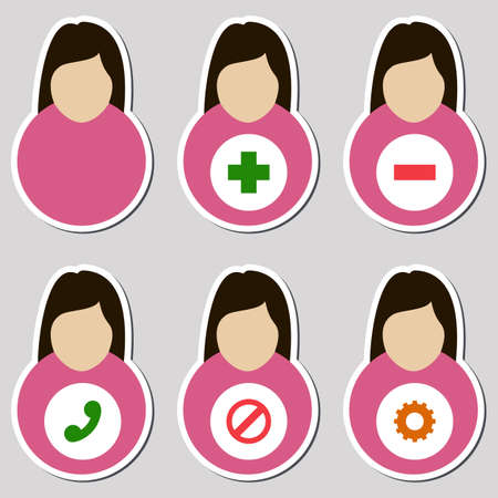 hair setting: Set of female user icons on simple background