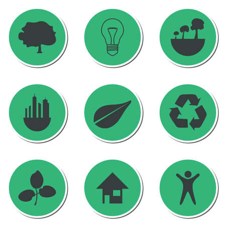 multiple house: Set of green technology icons on simple background