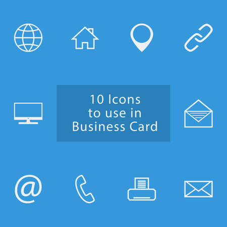 batch: 10 icons set to use in business card