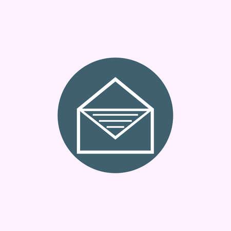 receptacle: White open envelope icon on blue circle background, modern creative style