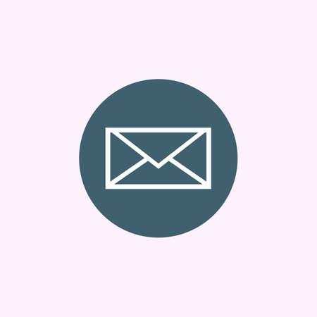 casing: White envelope icon on blue circle background, modern creative style