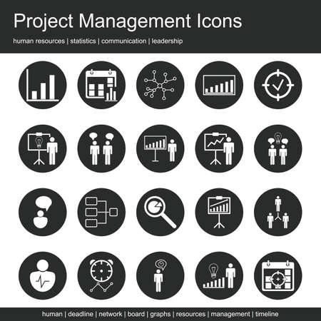 Premium kwaliteit icoon sets van project management, human resources, communicatie en statistieken pictogrammen. Moderne web-symbool collectie. Vector Illustratie