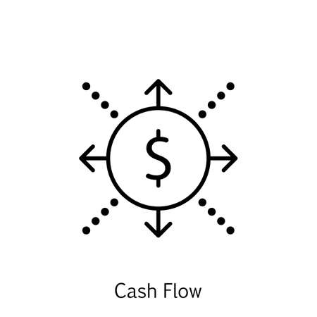 cash flow: Vector Illustration Of Project Management Icon On Cash Flow, Business And Success In Trendy Flat Style. Project Management Isolated Icon For Web, Mobile And Infographics Design.