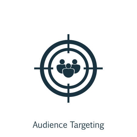 Vector Illustration Of SEO, Marketing And Advertising Icon On Audience Targeting In Trendy Flat Style. SEO, Marketing And Advertising Isolated Icon For Web, Mobile And Infographics Design.