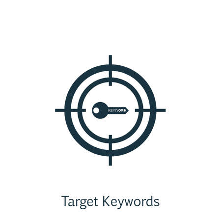 Vector Illustration Of SEO, Marketing And Advertising Icon On Target Keywords In Trendy Flat Style. SEO, Marketing And Advertising Isolated Icon For Web, Mobile And Infographics Design.
