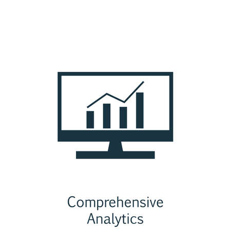 Vector Illustration Of SEO, Marketing And Advertising Icon On Comprehensive Analytics In Trendy Flat Style. SEO, Marketing And Advertising Isolated Icon For Web, Mobile And Infographics Design. Çizim