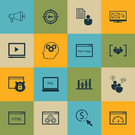 keyword: Set Of SEO, Marketing And Advertising Icons On Keyword Ranking, HTML Code, Target Keywords And More. Illustration