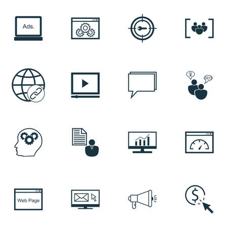 comprehensive: Set Of SEO, Marketing And Advertising Icons On Link Building, Target Keywords, Comprehensive Analytics And More.