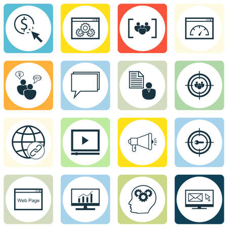 brief: Set Of SEO, Marketing And Advertising Icons On Online Consulting, Client Brief, Target Keywords And More. Illustration
