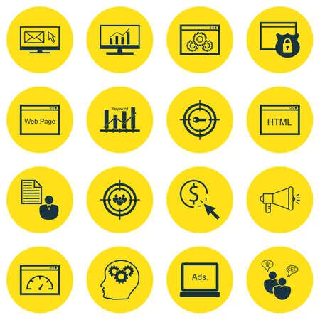 keyword: Set Of SEO, Marketing And Advertising Icons On Display Advertising, Keyword Ranking, Comprehensive Analytics And More.