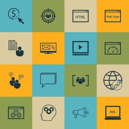 link building: Set Of SEO, Marketing And Advertising Icons On Video Advertising, Online Consulting, Link Building And More. Illustration