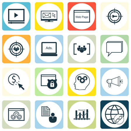 keywords link: Set Of SEO, Marketing And Advertising Icons On Display Advertising, Pay Per Click, Online Consulting And More. Illustration