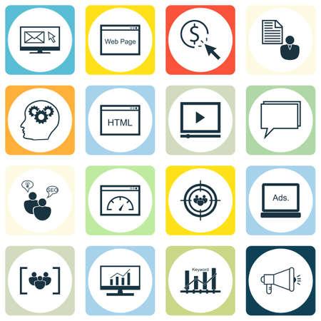 keyword: Set Of SEO, Marketing And Advertising Icons On Web Page, Keyword Ranking, Display Advertising And More.
