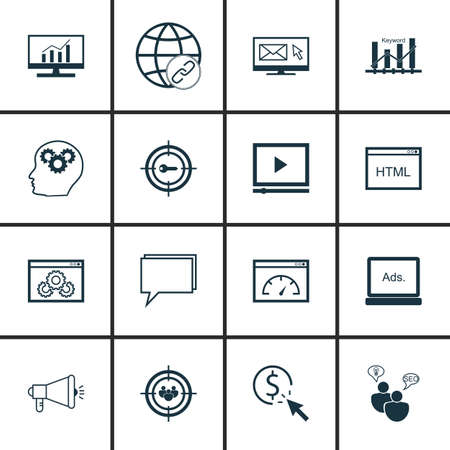 comprehensive: Set Of SEO, Marketing And Advertising Icons On Online Consulting, Page Speed, Comprehensive Analytics And More.