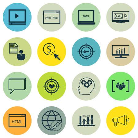 keyword: Set Of SEO, Marketing And Advertising Icons On Web Page, Keyword Ranking, Creativity And More.