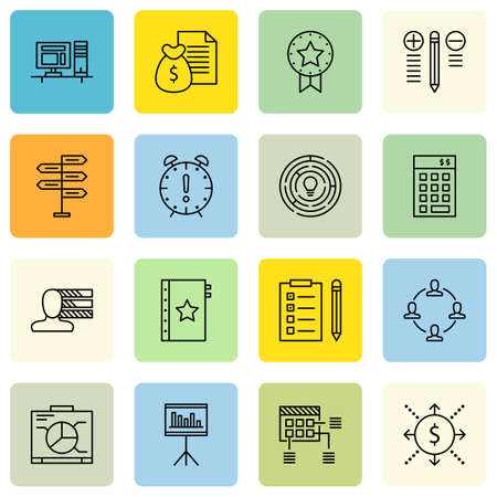 personality development: Set Of Project Management Icons On Teamwork, Creativity, Decision Making And More.