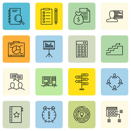 Set Of Project Management Icons On Personality, Decision Making, Charts And More.