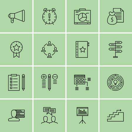 more money: Set Of Project Management Icons On Task List, Money Revenue, Decision Making And More. Illustration