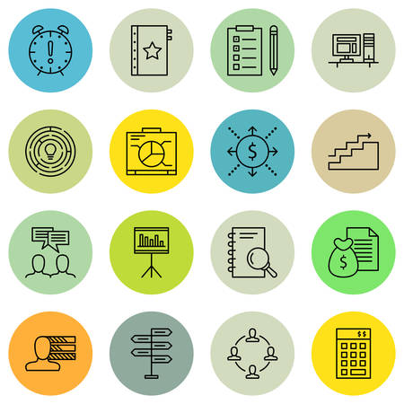 project deadline: Set Of Project Management Icons On Decision Making, Deadline, Graph And More.