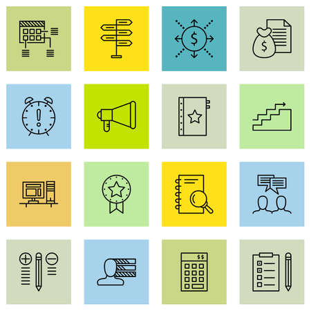 personality development: Set Of Project Management Icons On Planning, Promotion, Work space And More.