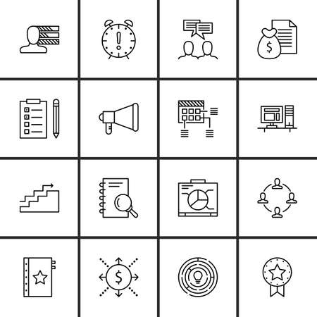 task list: Set Of Project Management Icons On Charts, Task List, Quality Management And More.