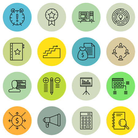 personality development: Set Of Project Management Icons On Quality Management, Promotion, Award And More.