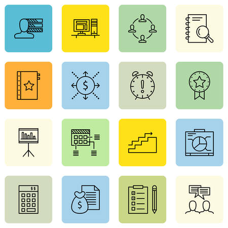 personality development: Set Of Project Management Icons On Personality, Statistics, Team Meeting And More.