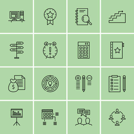 project deadline: Set Of Project Management Icons On Work space, Deadline, Statistics And More. Illustration