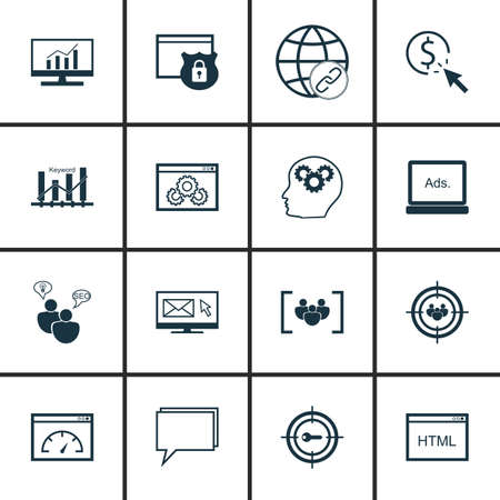 comprehensive: Set Of SEO, Marketing And Advertising Icons On HTML Code, Pay Per Click, Comprehensive Analytics And More. Illustration