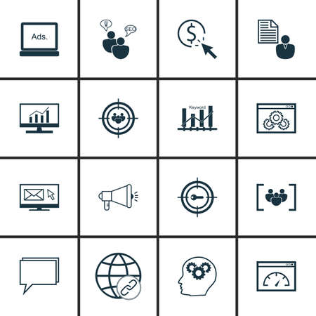 keywords link: Set Of SEO, Marketing And Advertising Icons On Website Optimization, SEO Consulting, Comprehensive Analytics And More.