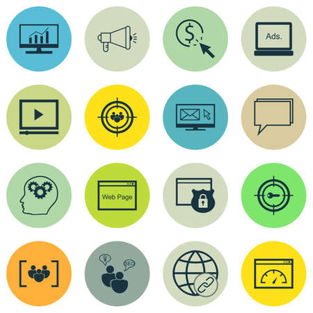 link building: Set Of SEO, Marketing And Advertising Icons On Link Building, Comprehensive Analytics, Video Advertising And More.