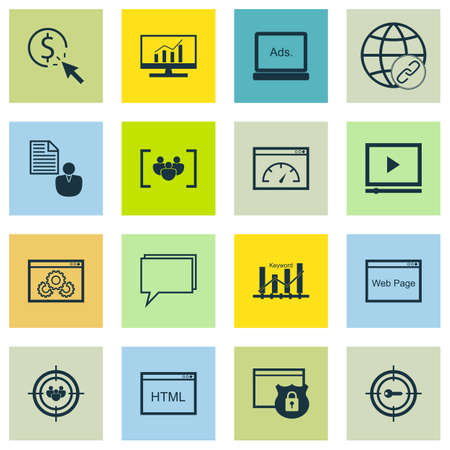 keywords link: Set Of SEO, Marketing And Advertising Icons On Page Speed, Video Advertising, Web Page And More. Illustration