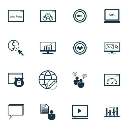 link building: Set Of SEO, Marketing And Advertising Icons On Comprehensive Analytics, Web Page, Link Building And More.