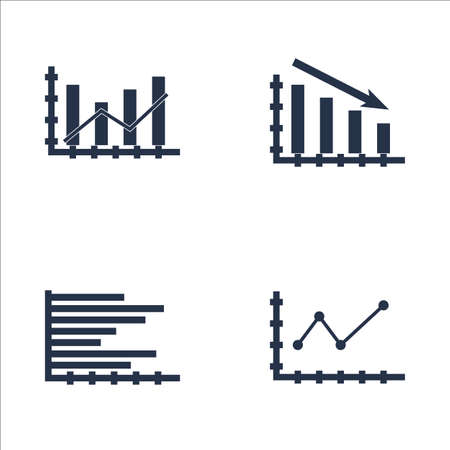 Set Of Graphs, Diagrams And Statistics Icons. Premium Quality Symbol Collection. Icons Can Be Used For Web, App And UI Design. 일러스트