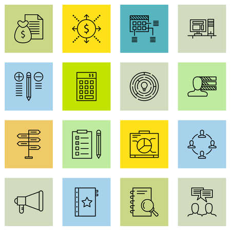 task list: Set Of Project Management Icons On Task List, Creativity, Team Meeting And More. Illustration