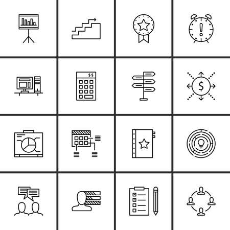 personality: Set Of Project Management Icons On Personality, Work space, Statistics And More.