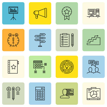 work space: Set Of Project Management Icons On Award, Work space, Decision Making And More.