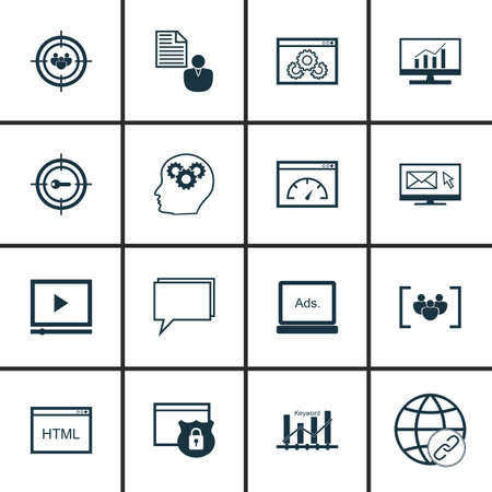 keyword: Set Of SEO, Marketing And Advertising Icons On Keyword Ranking, Website Optimization, Focus Group And More. Illustration