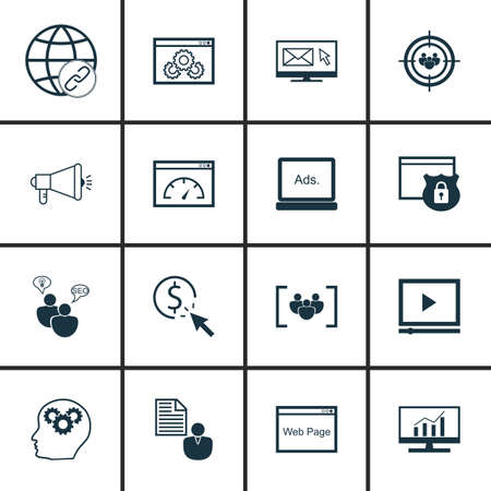 brief: Set Of SEO, Marketing And Advertising Icons On Page Speed, Pay Per Click, Client Brief And More.